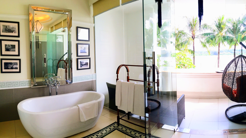 luxury hotel bathroom with balcony
