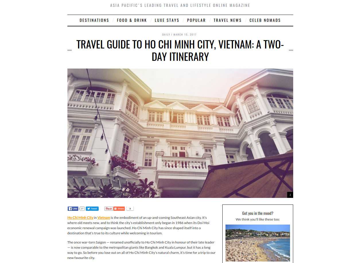 Travel Guide to Ho Chi Minh City, Vietnam: A Two-day Itinerary - Villa Song - Villa Song Saigon Hotel
