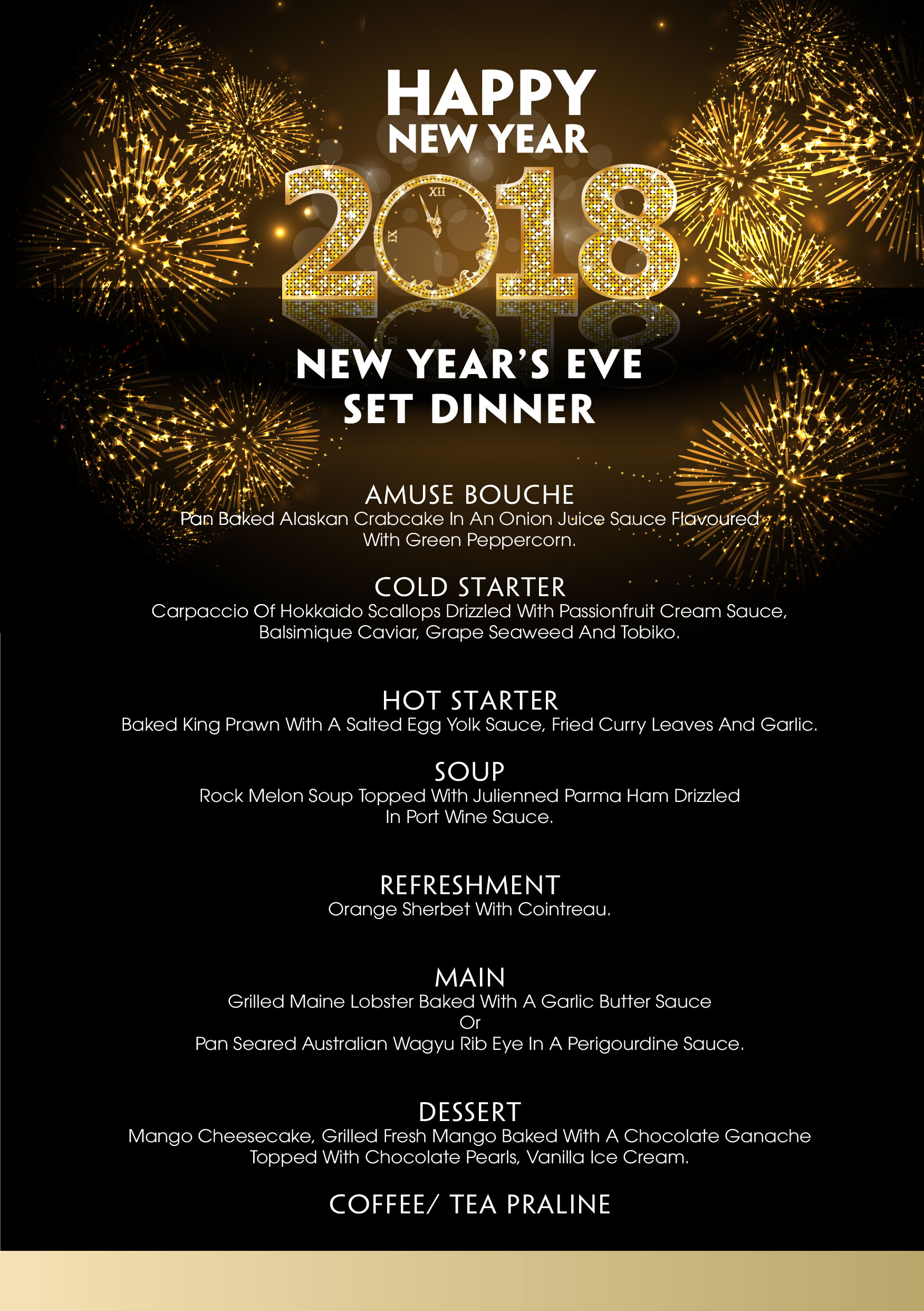 New Year Eve 2017 set menu