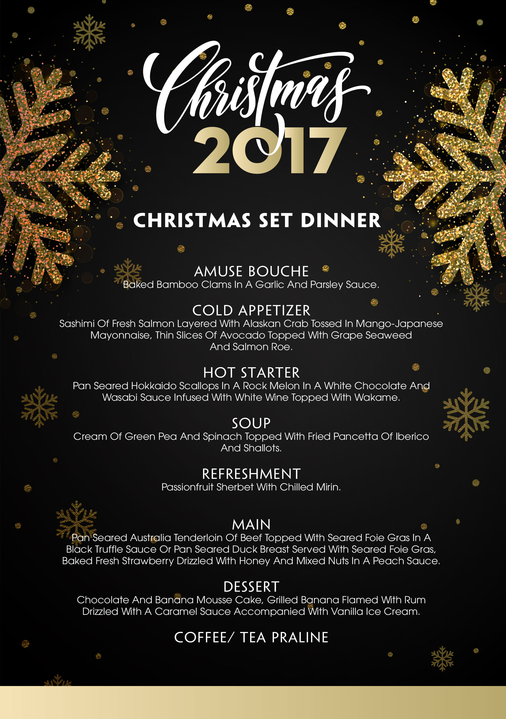 Christmas 2017 set menu