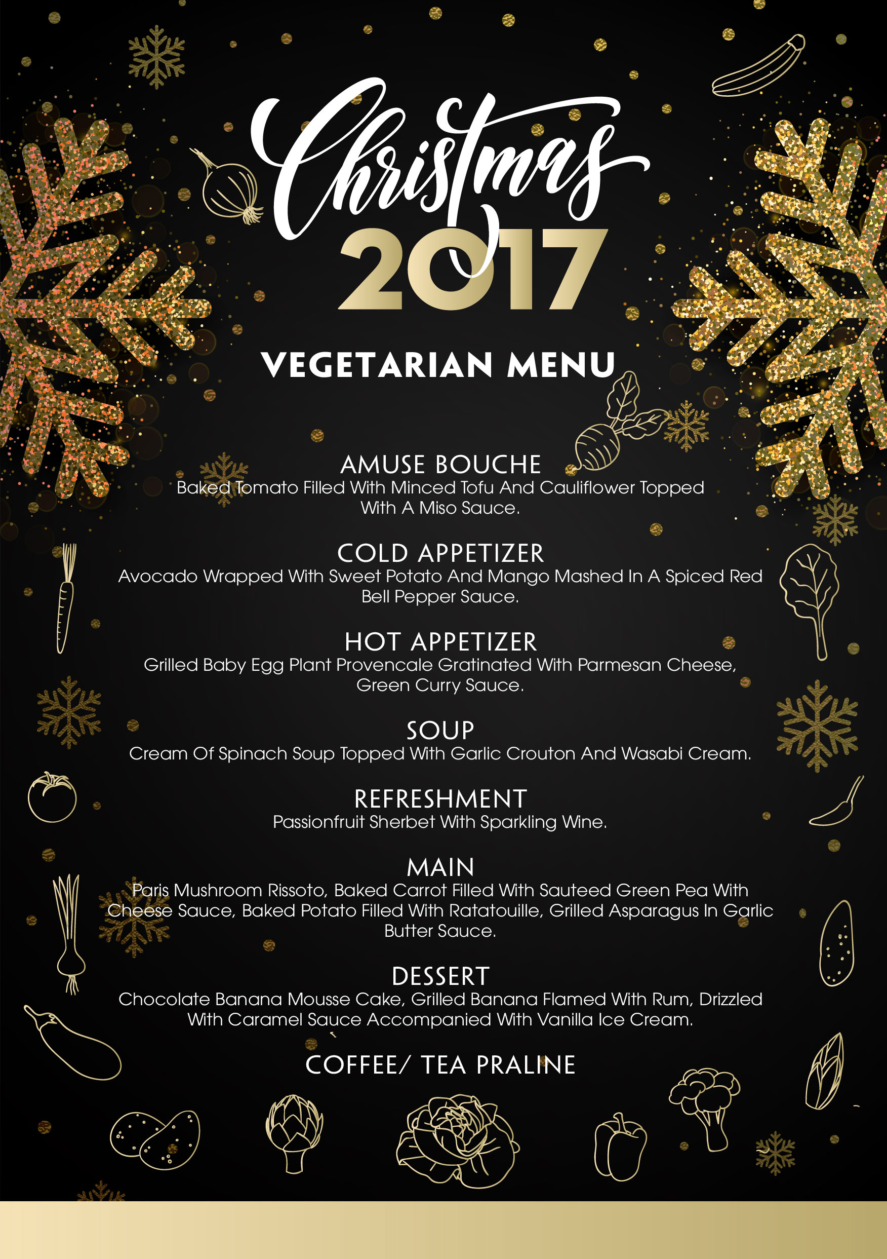 Christmas 2017 vegetarian menu