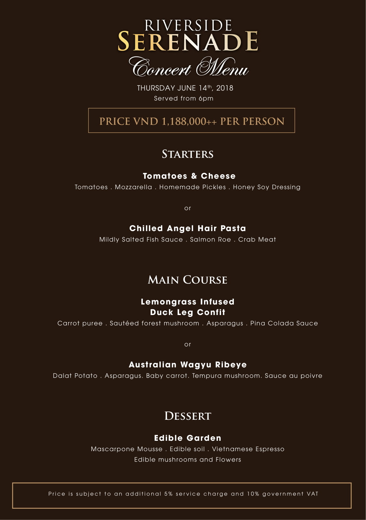 villa song saigon serenade concert menu details